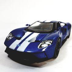 Kinsmart Charcaol Blue White Stripes  Ford Gt Hardtop   Scale
