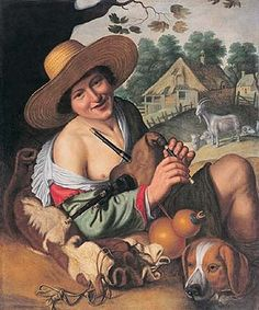 Berger riant tenant une cornemuse - Joachim WTEWAEL