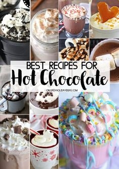 Best Hot Chocolate Recipes – Easy Holiday Ideas Best Hot Chocolate Recipes to keep you warm & cozy all winter long. From unicorn hot chocolate to red velvet recipes, these unique recipes will make you swoon! Hot Chocolate Recipe Easy, Hot Chocolate Gifts, Hot Cocoa Recipe, Cocoa Recipes, Homemade Hot Chocolate, Hot Chocolate Bars, Hot Chocolate Mix, Dessert Recipes, Desserts