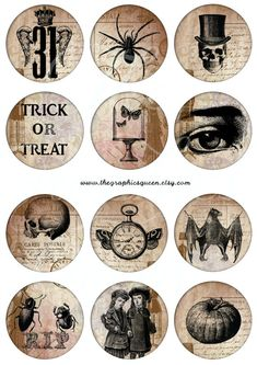 OFF SALE Vintage Halloween Images by DigitalCollageClub halloween images Vintage Halloween Images inches circles Steampunk Jewelry Printable Images Halloween Digital Collage Sheet Cupcake Topper Retro Halloween, Vintage Halloween Images, Halloween Sale, Fall Halloween, Halloween Crafts, Printable Images, Wiccan Crafts, Valentines Sale, Bottle Cap Crafts