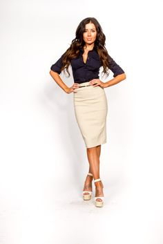 Working Girl Navy Dressy Women's Top. Click here for more women's dressy & sexy tops at http://www.vargastore.com/collections/dressy-tops