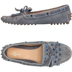Carshoe Loafer ($170) ❤ liked on Polyvore featuring shoes, loafers, slate blue, flat footwear, round toe shoes, flat loafers, flat shoes and round toe loafers