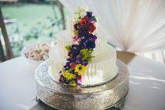 Three-Tier Cascading Flower Wedding Cake | Julio Fonyat | TheKnot.com
