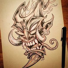 Demon mask I drew for #Inktober - started out as just a quick thing and I got carried away.#tiki #demon #devil #ink #art New Artwork From Instagram - Flyland Designs, Freelance Illustration and Graphic Design by Brian Allen -