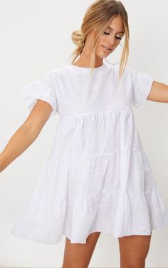White Broderie Anglaise Smock DressThis white smock dress is this seasons must-have featuring . Mode Outfits, Dress Outfits, Dress Up, Fashion Outfits, Bodycon Dress, Dress Fashion, Fashion Clothes, Fashion Fashion, Vintage Fashion
