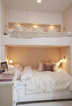 Airy built in bunks--larger bed below. Would be great in a guest room.