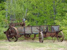 Antique Farm Equipment | This is his latest find - an old horse drawn 'Manure Spreader'. It now ...