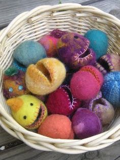 felted eggs and monsters to fill with treats