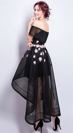 Only $129.99, Prom Dresses Black A-line Off-the-shoulder High Low Tulle Formal Dress With Embroidery #TJ058 at #GemGrace. View more special Special Occasion Dresses,Prom Dresses,Homecoming Dresses now? GemGrace is a solution for those who want to buy delicate gowns with affordable prices. Free shipping, 2018 new arrivals, shop now to get $10 off!