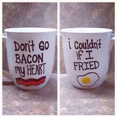 Bacon and eggs mugs... Wanna make these for jeff/our apt. Too cute
