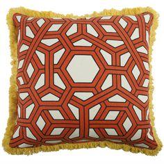 """Hexagon 22"""" Linen/Cotton Pillow in Alcazar design by Thomas Paul"""