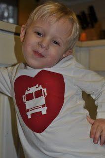 DIY new sew valentine t shirt for boys I Heart Trucks