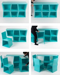 Chairs hidden everywhere in this multifunctional furniture collection (Video) - Chairs take up a lot of space, but not in this line of space-saving furniture. Folding Furniture, Compact Furniture, Multifunctional Furniture, Modular Furniture, Space Saving Furniture, Unique Furniture, Home Decor Furniture, Furniture Projects, Diy Home Decor
