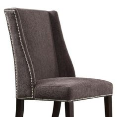 Harlow Wingback Chenille Dining Chair with Nailheads - Dark Grey (Set of 2)
