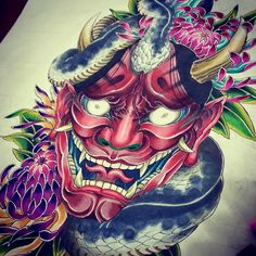 Asian Tattoos, 3d Tattoos, Body Art Tattoos, Sleeve Tattoos, Cool Tattoos, Samurai Mask Tattoo, Hannya Mask Tattoo, Hanya Tattoo, Japanese Demon Tattoo