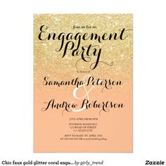Chic faux gold glitter coral engagement party card
