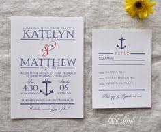 Wedding Invitation - Nautical Anchor - Navy & Red. $2.75, via Etsy.