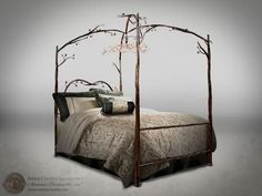 914-349 Enchanted Forest Bed (hand rubbed copper w/ copper accent) Four Poster Full without chandelier