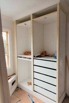Kleiderschrank Dachschräge Hacking the IKEA Pax into a Fully Custom Closet – Erin Kestenbaum How The Walk In Closet Ikea, Ikea Closet Hack, Ikea Pax Wardrobe, Closet Hacks, Build A Closet, Diy Wardrobe, Closet Ideas, Wardrobe Ideas, Open Closets