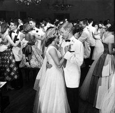 Teens, 1958  Teenage students dancing at the Mariemont High School Prom.
