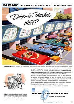 'Drive-in Market 1959?' - vintage mid century ad, 1956 ... (Flickr: Intercambio de fotos)