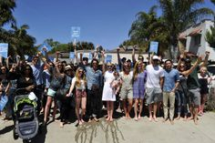 The entire TOMS HQ team, ready for a barefoot march on Abbot Kinney! One Day #WithoutShoes 2014
