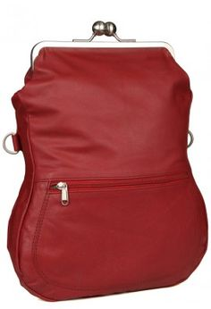 LEATHER BAG WITH CLASP CLOSURE (RED)