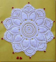 ultimate doily with beads 2 Another beauty from the Ultimate doilies. Patricia Kristoffersen's Ultimate Doily (Made to Treasure) Crochet Doily Rug, Free Crochet Doily Patterns, Crochet Dollies, Crochet Tablecloth, Crochet Round, Crochet Afghans, Thread Crochet, Irish Crochet, Crochet Designs