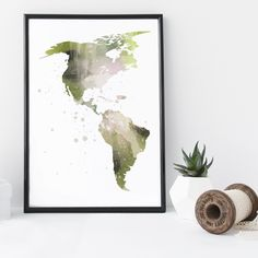 Map of the Americas watercolor wall art print poster - unframed. I am a Canadian based artist and all artwork is done by me in my studio. This is an UNFRAMED archival high quality print of my original illustration. It is printed on Moab 100% cotton archival fine art heavy paper. Your print will be signed and dated in the back and carefully packaged with sturdy backings and sleeves. Larger prints are shipped rolled in a mailing tube to minimize the risk of damage. NOTE: Depending on your...