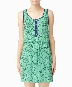 Strauss Dress - StyleMint Great summer outfit! Would look great with blue wedges and a small, cute blue hanging handbag.