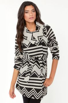 Black and Ivory Print Coat. So cozy!!