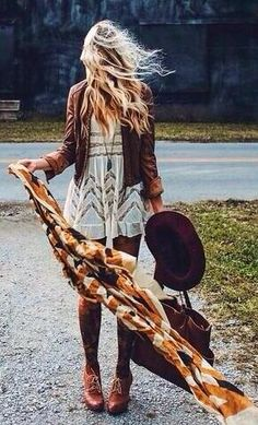 Cute shoes with this dress and tights. A great way to bring boho fashion into the fall. Staying warm and looking bohemian savvy isnt always easy but it has been executed effortlessly here! Bohemian Fall Inspiration | Fall Boho outfit ideas