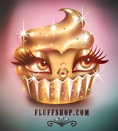A more Glamorous Golden Cupcake! fluffshop.com