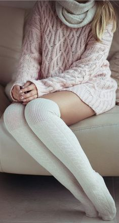 Comfy and cozy long socks, knitted sweater and scarf
