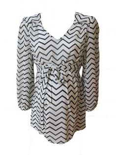 Chiffon Zig Zag Top by Sassy Maternity - Maternity Clothing - Flybelly Maternity Clothing Chevron Maternity www.flybelly.com
