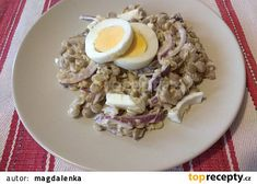 Čočkový salát s vejci a cibulí recept - TopRecepty.cz Oatmeal, Grains, Breakfast, Food, The Oatmeal, Morning Coffee, Rolled Oats, Essen, Meals