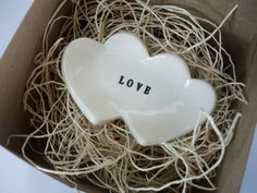 Heart Ring Dish with Text, Wedding Birthday Favor, Black and White, Gift Boxed $9 PromisePottery