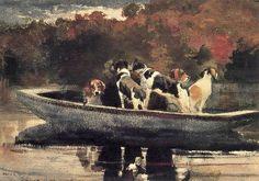 Winslow Homer (American artist, 1836-1910) Dogs in a Boat (1889).