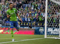 Lamar Neagle celebrates his first-half goal scored against FC Dallas. (Photo by Dean Rutz / The Seattle Times)