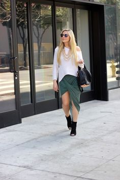 love the skirt and slouchy top casual done right