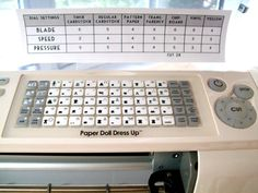 Cricut Settings Table - very helpful!