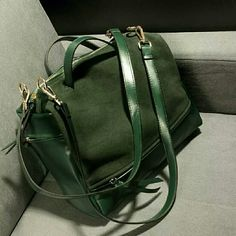 "Vegan Leather & Suede Carry-all Satchel Brand new & premium quality carry-all bag in classic Hunter green features vegan leather on one side and suede on the other. Double long straps that are removable and adjustable. Beautiful gold plated hardware. Quality zippers. 12""x20"" Boutique Bags Satchels"