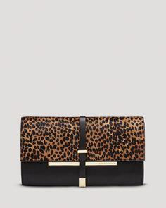 VINCE CAMUTO Clutch - Leila Leopard-Print Haircalf | Bloomingdale's