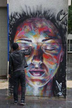 David Walker New Mural In Vitry, France StreetArtNews Love Street Art! 3d Street Art, Amazing Street Art, Street Art Graffiti, Street Artists, Amazing Art, David Walker, Walker Art, Pintura Graffiti, Graffiti Artists