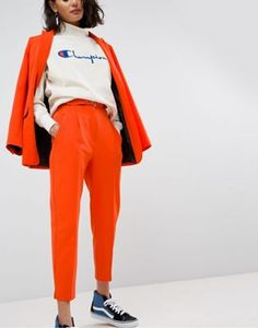 ASOS Tailored - Pantalon avec ceinture - Orange pop