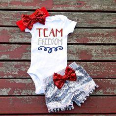 Team Freedom 4th of July Bodysuit Baby Girl by GLITTERandGLAMshop