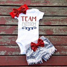 Team Freedom 4th of July Bodysuit Baby Girl by GLITTERandGLAMshop