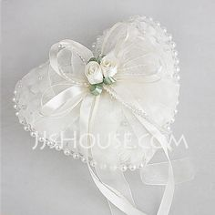 Ring Pillow - $14.99 - Wedding Ring Pillow in Smooth Satin With Lovely Flowers and Pearls(103018228) http://jjshouse.com/Wedding-Ring-Pillow-In-Smooth-Satin-With-Lovely-Flowers-And-Pearls-103018228-g18228