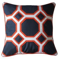 """Outdoor pillow with a honeycomb motif in navy.   Product: PillowConstruction Material: PolyesterColor: White and navyFeatures:  Insert includedSuitable for indoor or outdoor use Dimensions: 20"""" x 20"""" Cleaning and Care: Spot clean"""