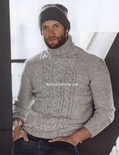 Pullover with cable panel FREE pattern. Timeless cable knit turtleneck men's sweater in silver grey (1/3) (hva)
